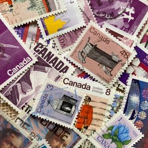25+ purple postage stamps